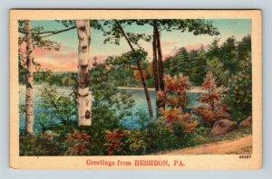 Heshbon PA, Scenic Greetings, Pennsylvania, Linen Postcard