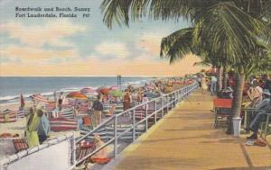 Florida Fort Lauderdale Boardwalk and Beach 1950