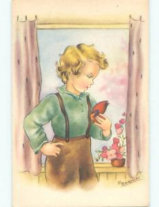 Unused Pre-Chrome signed CUTE ITALIAN GIRL HOLDING BUTTERFLY J2753