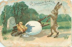 Rabbit With Chick and Broken Egg  Easter Postcard Made in Germany DAMAGED