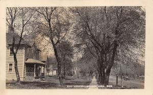 Manson Iowa~Residence Street~Homes~Man Stands~Horse Buggy~Dirt Road~c1912 RPPC
