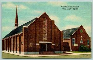 Gainesville Texas~First Christian Church~Breezeway Connects Annex~1955 Linen PC