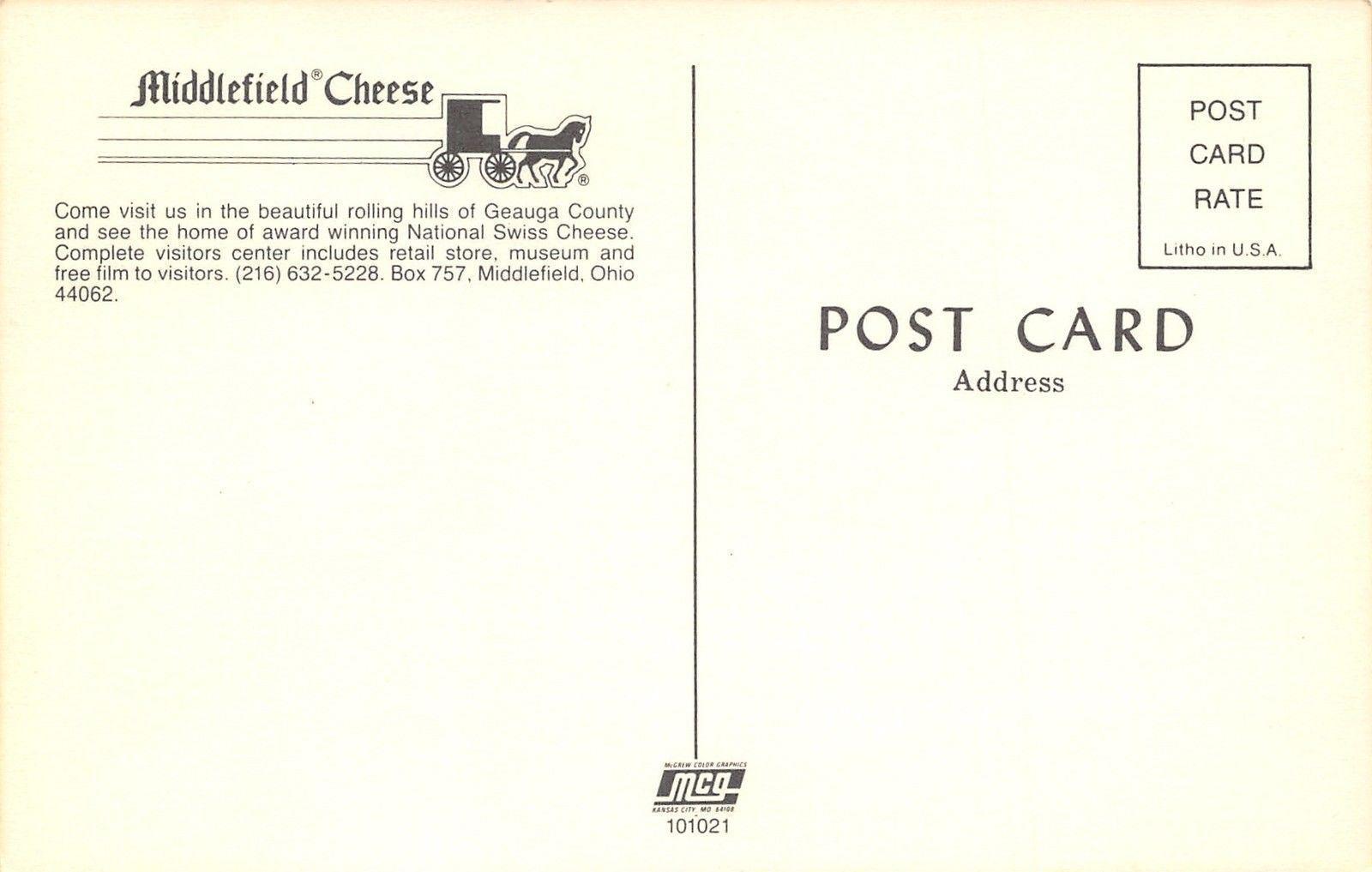 Middlefield Ohio~Middlefield Cheese~1960 Postcard / HipPostcard