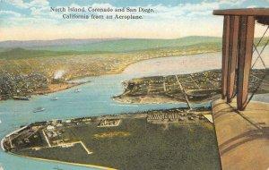 North Island, Coronado & San Diego, CA from an Aeroplane c1910s Vintage Postcard