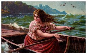 Greek woman rowing a skiff