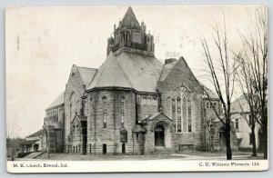 Elwood Indiana~Methodist Episcopal ME Church~Neighborhood~1908 B&W CU Williams