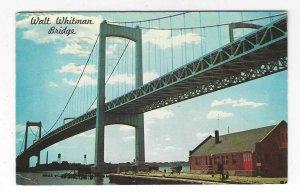 1963 Walt Whitman Bridge, PA, NJ Delaware River Chrome Postcard