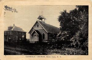 Cobleskill-Howe Cave New York~Catholic Church~House Next Door~c1920s PC