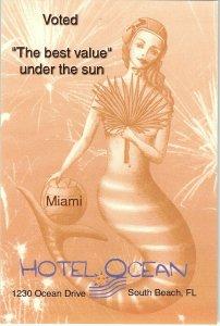 Miami Florida Mermaid Print Hotel Ocean Ad Card Sun Shine State 4 x 6