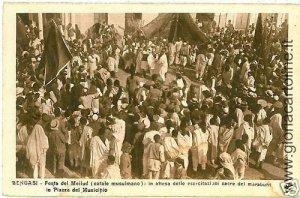 02304  CARTOLINA d'Epoca:  LIBIA : BENGASI: FESTA DEL MELLUD