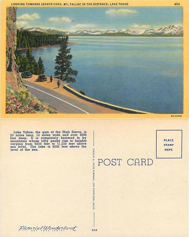 Looking Toward Zephyr Cove and Mt. Tallac, Lake Tahoe Nevada, NV, Linen