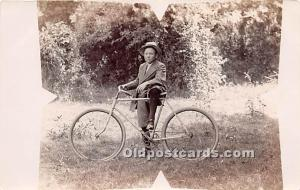Boy with bicycle Real Photo Bicycle Unused
