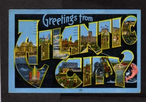 NJ Greetings From Atlantic City Lg Large Letter Postcard Linen Hotels