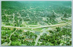 Asheville North Carolina~Aerial View of Cloverleaf~Courthouse @ Upper Left 1950s