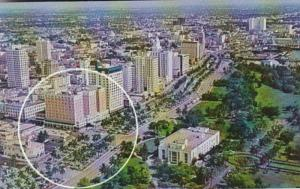 Florida Miami Aerial View Along Biscayne Boulevard Showing Hotel Row and Library