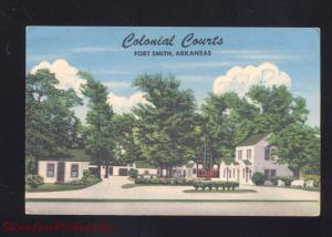 FORT SMITH ARKANSAS COLONIAL COURTS MOTEL VINTAGE LINEN ADVERTISING POSTCARD