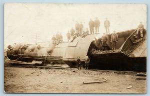 Postcard MD Chewsville Western Maryland Railroad Train Wreck Eng 913 RPPC S8