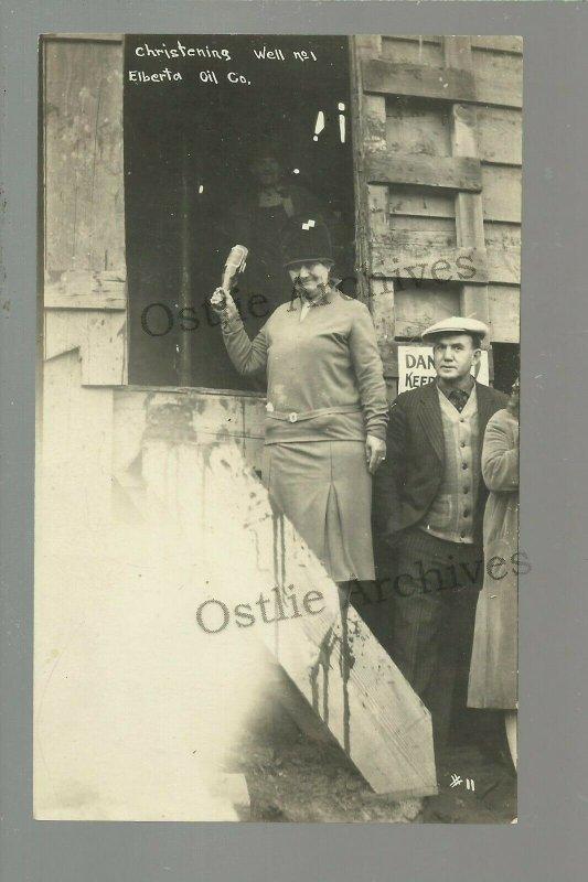 San Luis Obispo County CALIFORNIA RPPC c1920s OIL WELL No. 1 CHRISTENING Woman