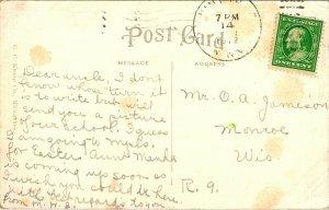 Vtg Postcard 1912 High School - Winthrop Minnesota