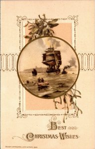 RARE - BEST CHRISTMAS WISHES - WINSCH -BOATS SHIPS VINTAGE -  Postcard