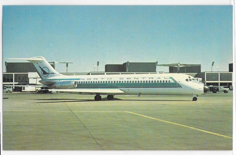 North Central Airlines Teal Black Livery DC-9-31 On Ground Vintage Postcard