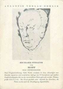 German artist etching postcard Mopp Max Oppenheimer portrait Richard Strauss