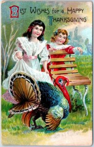 1910s Holiday Embossed Postcard THANKSGIVING Girls Teasing Turkey in Pen UNUSED