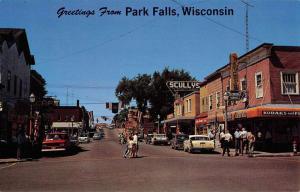 Park Falls Wisconsin Street Scene Store Fronts Vintage Postcard K82417