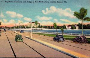 Florida Tampa Bayshore Boulevard and Bridge To Man Made Davis Islands Curteich