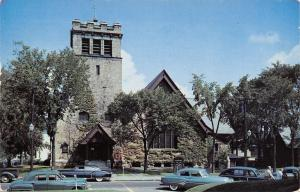 Laconia New Hampshire~Laconia Congregational Church~Nice Early 1950s Cars PC