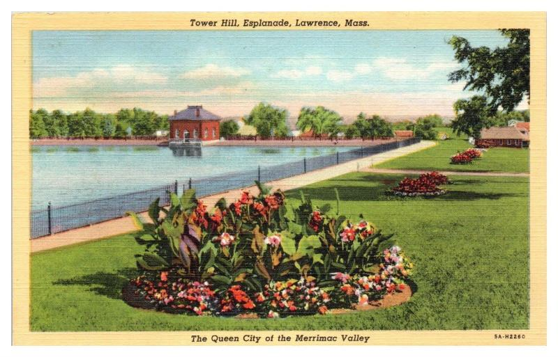 Mid-1900s Tower Hill, Esplanade, Lawrence, MA Postcard