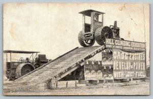 Case International Harvester Tractor on Top~Hill Climbing Exhibition~1908 B&W PC