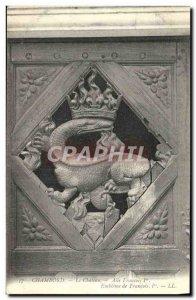 Old Postcard Chambord Le Chateau Francois 1er Wing Emblem of Francois 1er