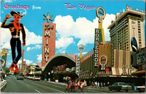 Greetings from Las Vegas Fremont Street c1972 Neon Signs Chrome Y14