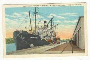 Loading rice on steamship, Lake Charles, Louisiana, 1910s
