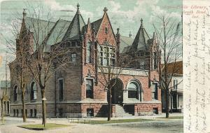 South Bend Indiana~Public Library~House Next Door~1908 Postcard
