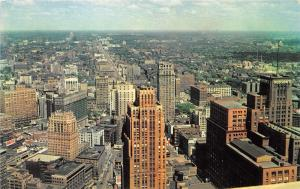 Detroit Michigan~Downtown Aerial View North from Observation Tower~1950s Pc