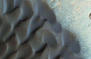 Planet Mars Orbit Reconnaissance Spaceship Barchan Sand Dunes Postcard