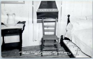 West Branch Iowa RPPC Photo Postcard Herbert Hoover Birthplace Room View 1950s