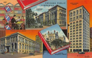 Chicago Public Libraries, Chicago, Illinois, Early Linen Postcard, Used