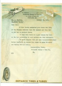 1918 Falmouth Garage & Tire Co. to Mr. D. Tarshis Letter Head LH1.