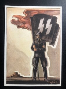 Original Mint WW2 Germany Propaganda Picture Postcard Waffen SS Flag