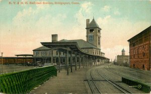 Allen Bridgeport Connecticut 1912 Railroad Depot Station NY NH Postcard 13164