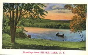 Silver Lake Ny >> Canoe Greetings From Silver Lake Ny New York Pm 1936 Linen