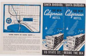 Foldout Brochure ADV: The New Californian Hotel by the Sea, Santa Barbara Cal...