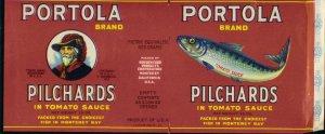 PORTOLA brand PICHARDS - SARDINES / 1930s - CAN LABEL /  9 X 4 / CALIFORNIA