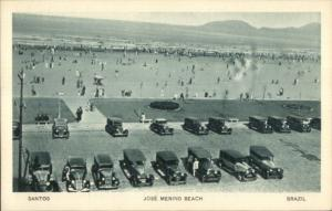 Santos Brazil Jose Menino Beach & Old Cars c1920s Postcard
