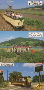Seaton Tramway 3x Unusual Bus Trams Postcard s