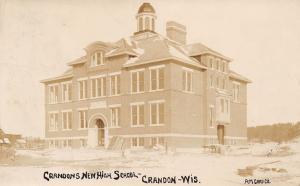 Crandon Wisconsin~New High School~Construction Materials~Snow~1908 RPPC