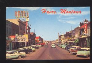 HAVRE MONTANA DOWNTOWN MAIN STREET SCENE VINTAGE POSTCARD 1950's CARS